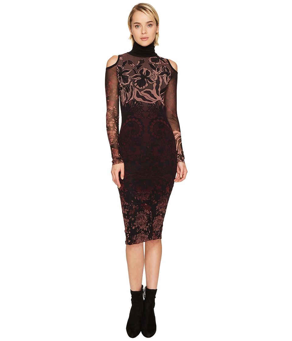 FUZZI Cut Out Shoulder Long Sleeve Turtleneck Layered Lace Dress Cover-Up (Plum) Women