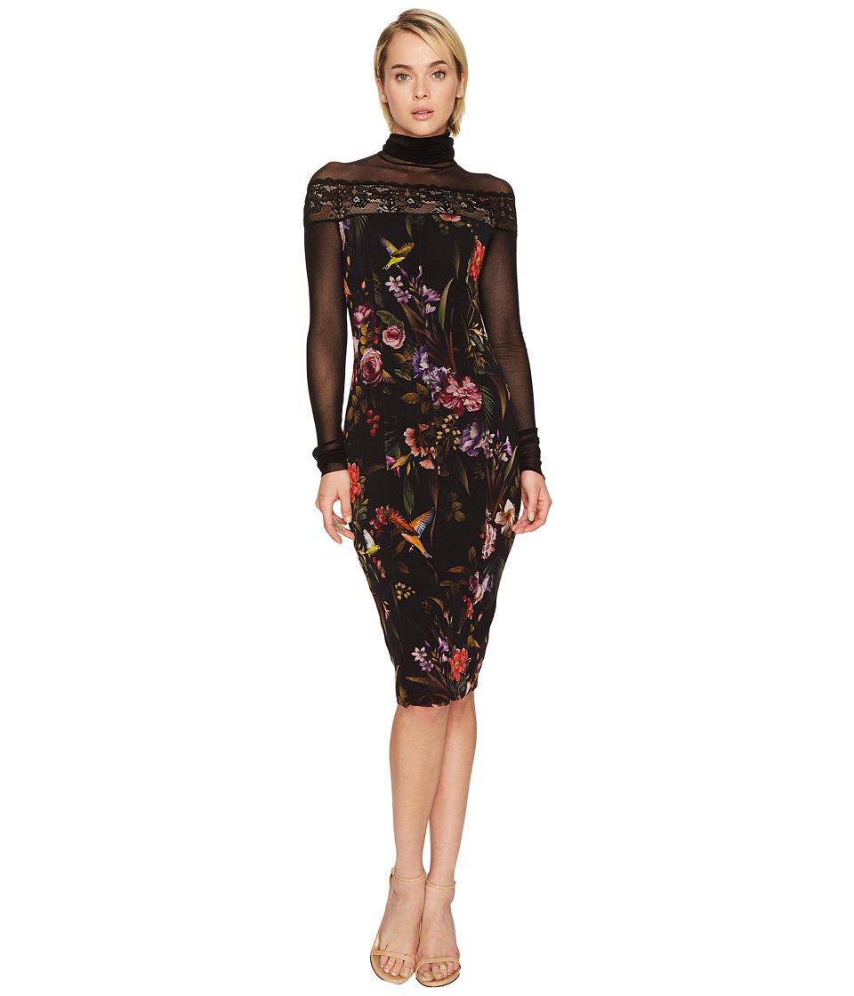 FUZZI Hummingbird Mesh Long Sleeve Turtleneck Tulle Dress Cover-Up (Nero) Women