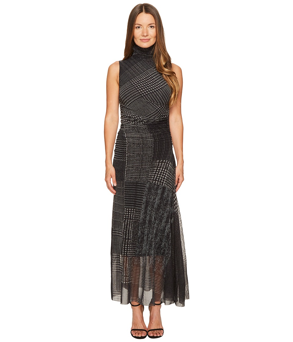 FUZZI - Turtleneck Sleeveless Menswear Tulle Dress Cover-Up