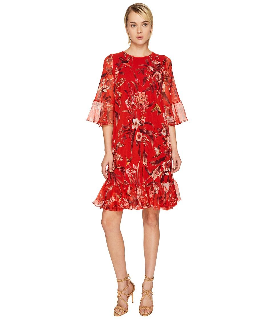 FUZZI Hummingbird 3/4 Sleeve Silk Creponne Dress Cover-Up (Pompei) Women