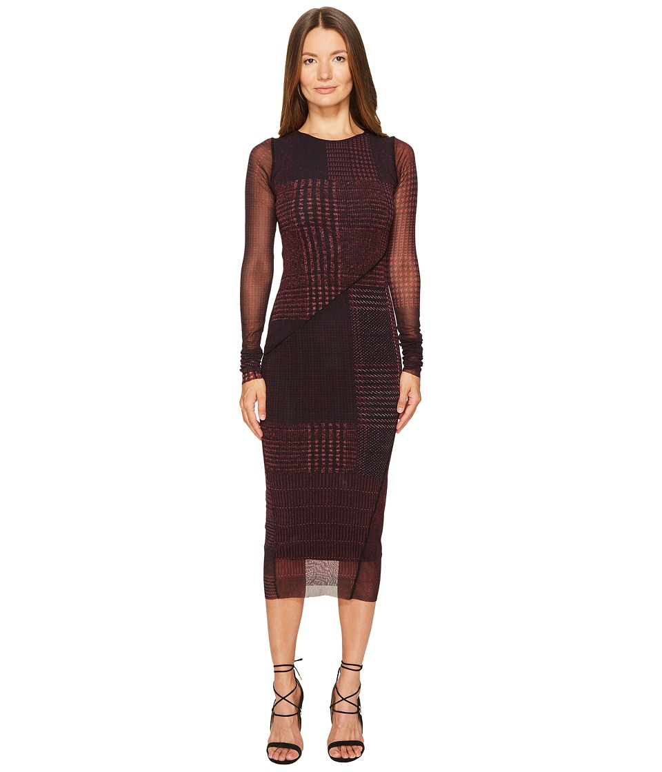 FUZZI Long Sleeve Fitted Menswear 3/4 Tulle Dress Cover-Up (Plum) Women
