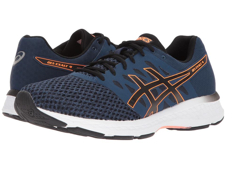 ASICS - GEL-Exalt 4 (Dark Blue/Black/Shocking Orange) Mens Running Shoes