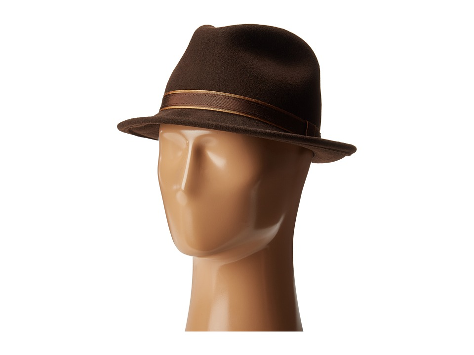 Country Gentleman Clooney Fedora Hat with Contrast Band (Brown) Caps