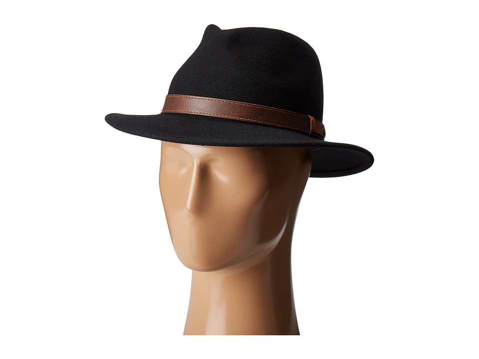 Country Gentleman - Bryson Drop Brim Fedora with Leather Trim (Black) Caps