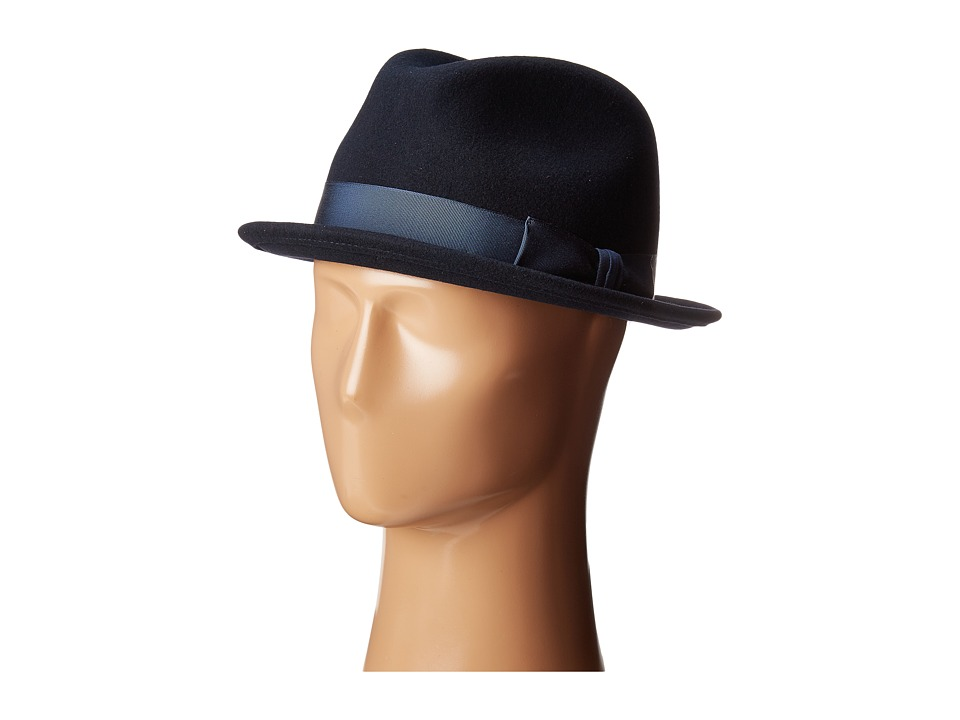 Country Gentleman Floyd Traditional Wool Fedora Hat (Navy) Caps