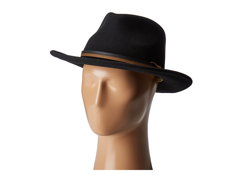 Country Gentleman - Outback Wool Drop Brim Fedora Hat (Black) Caps