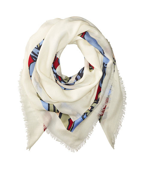 Tory Burch Printed T-Logo Square Scarf - New Ivory