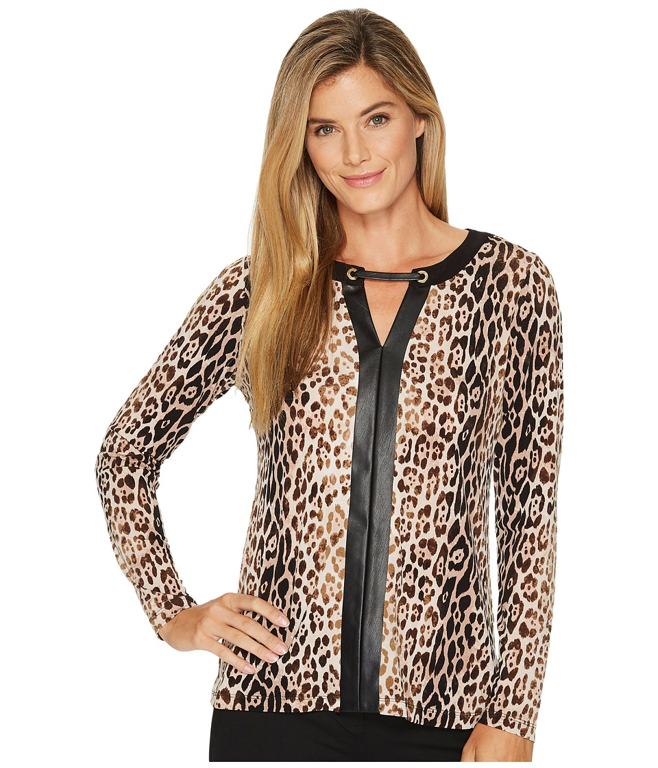 Calvin Klein Long Sleeve Top with Faux Leather Placket (Black/Vicuna) Women