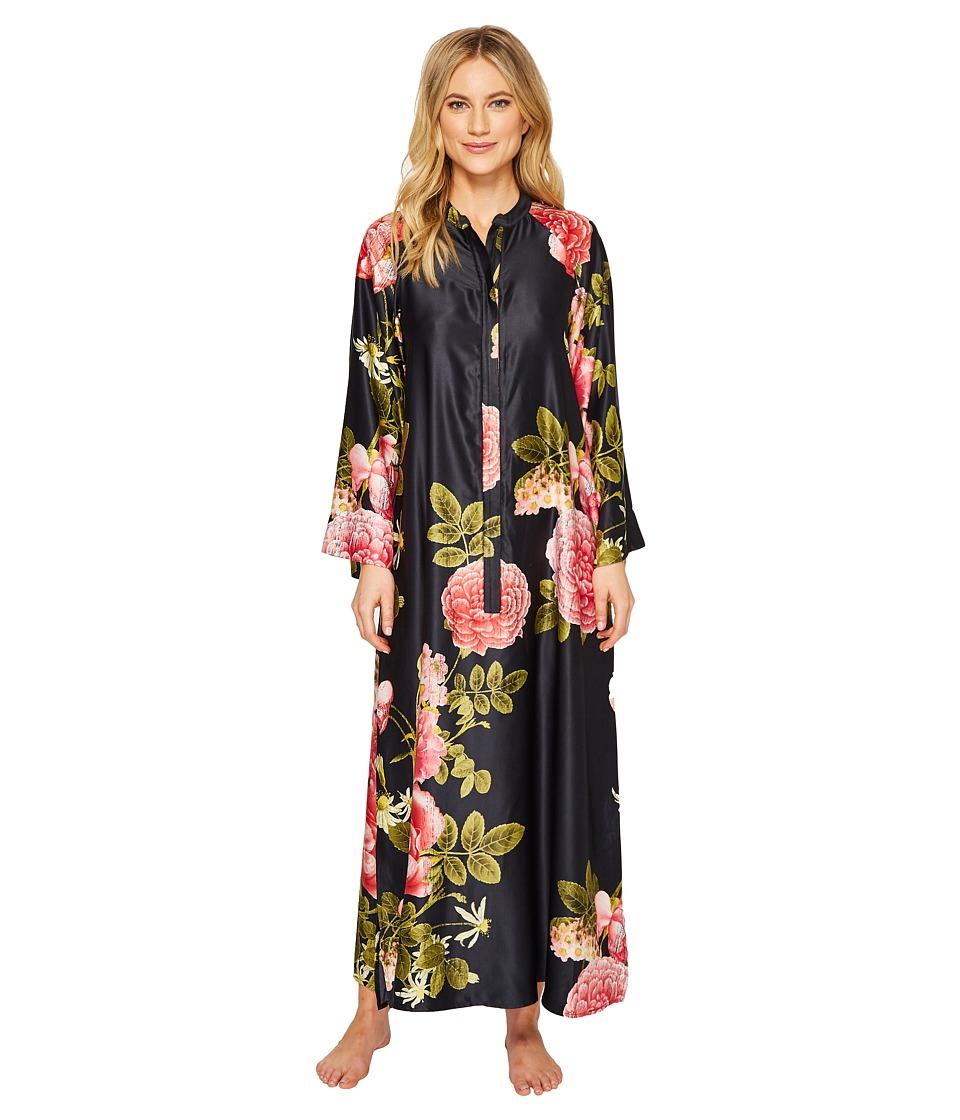 Natori Mandarin Zip Caftan 52 (Black) Women's Pajama