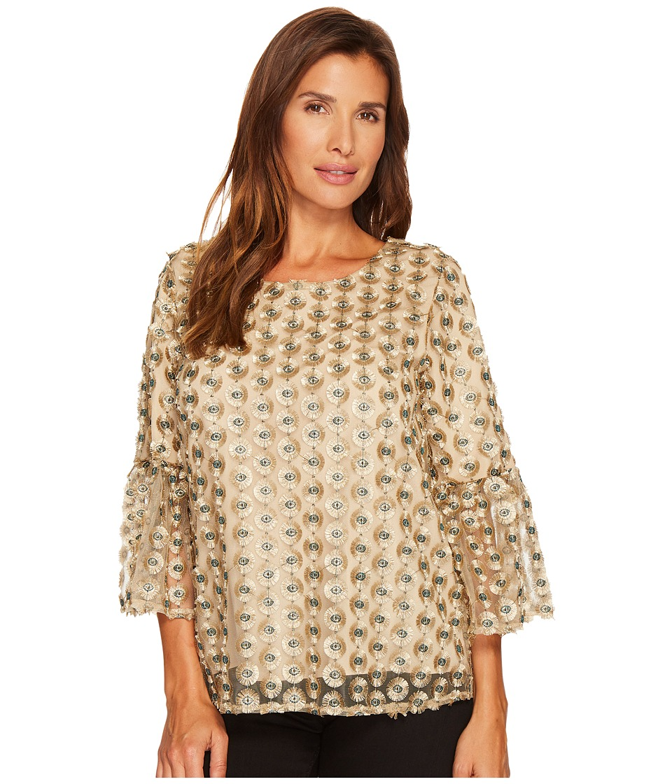 Calvin Klein Embroidered Bell Sleeve Top (Gold Combo) Wom...