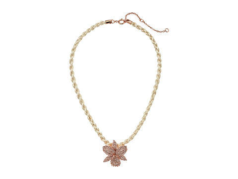 Nina Large Orchid Pave Necklace - Rose Gold/Natural Cord/Silk