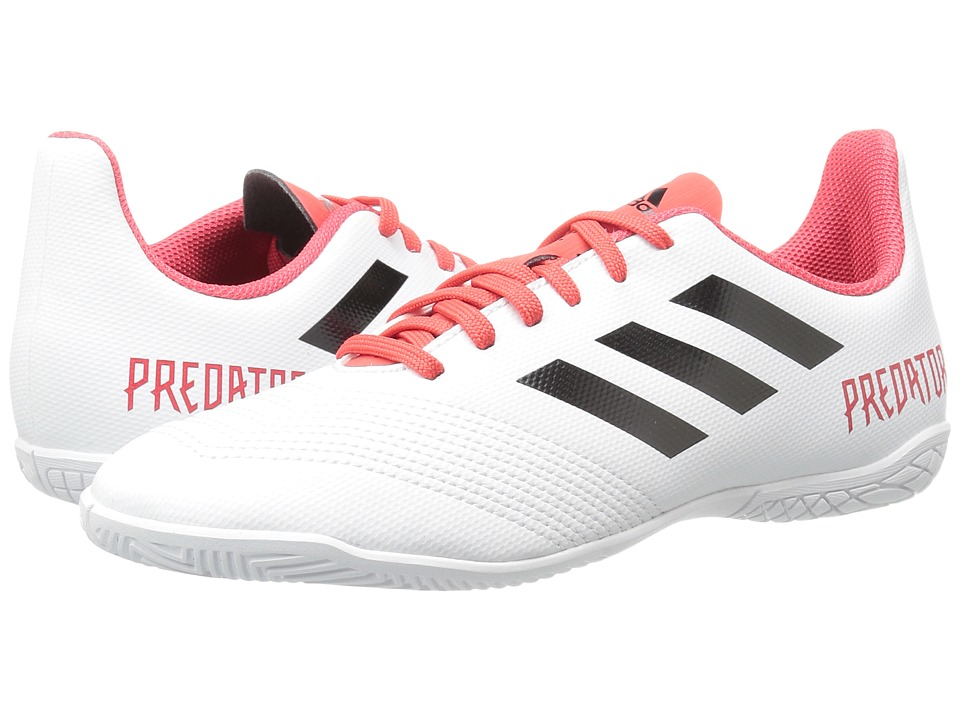 adidas Kids Predator 18.4 Indoor (Little Kid/Big Kid) (White/Black/Real Coral) Kids Shoes