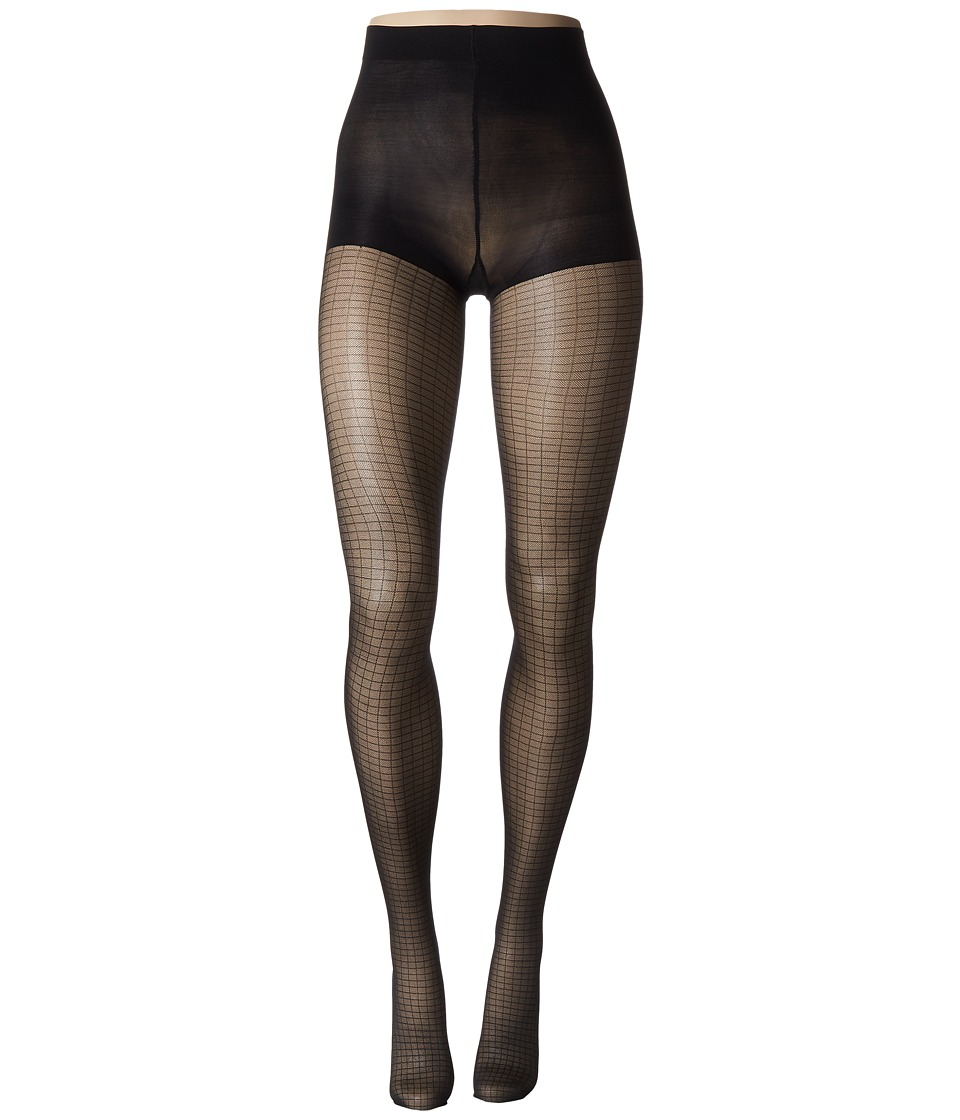 Calvin Klein - Shimmer Mesh Grid Tights with Control Top (Black) Hose