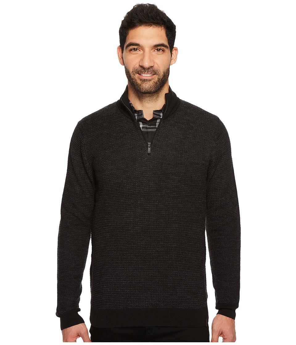 Calvin Klein Merino Textured Tweed 1/4 Zip Sweater (Black Combo) Men