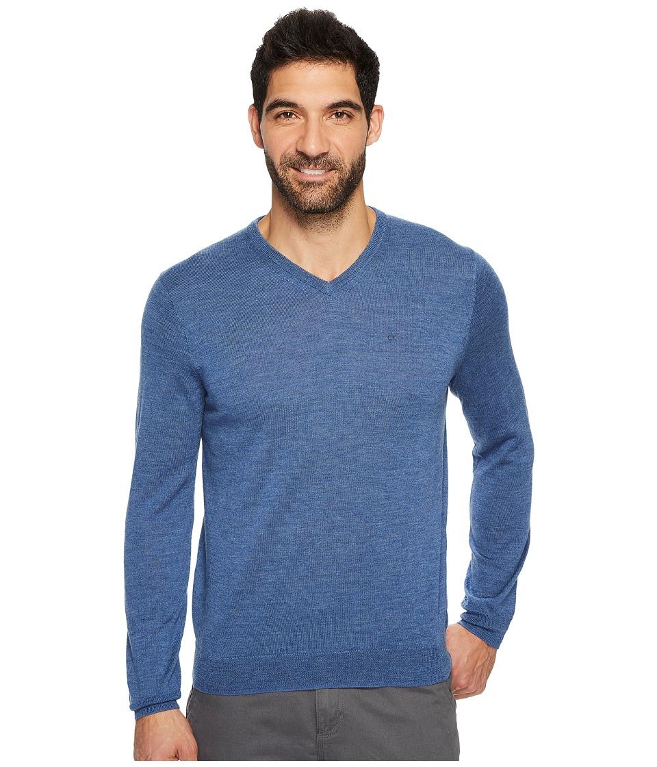 Calvin Klein Solid Merino V-Neck Sweater (Shuttle Heather) Men