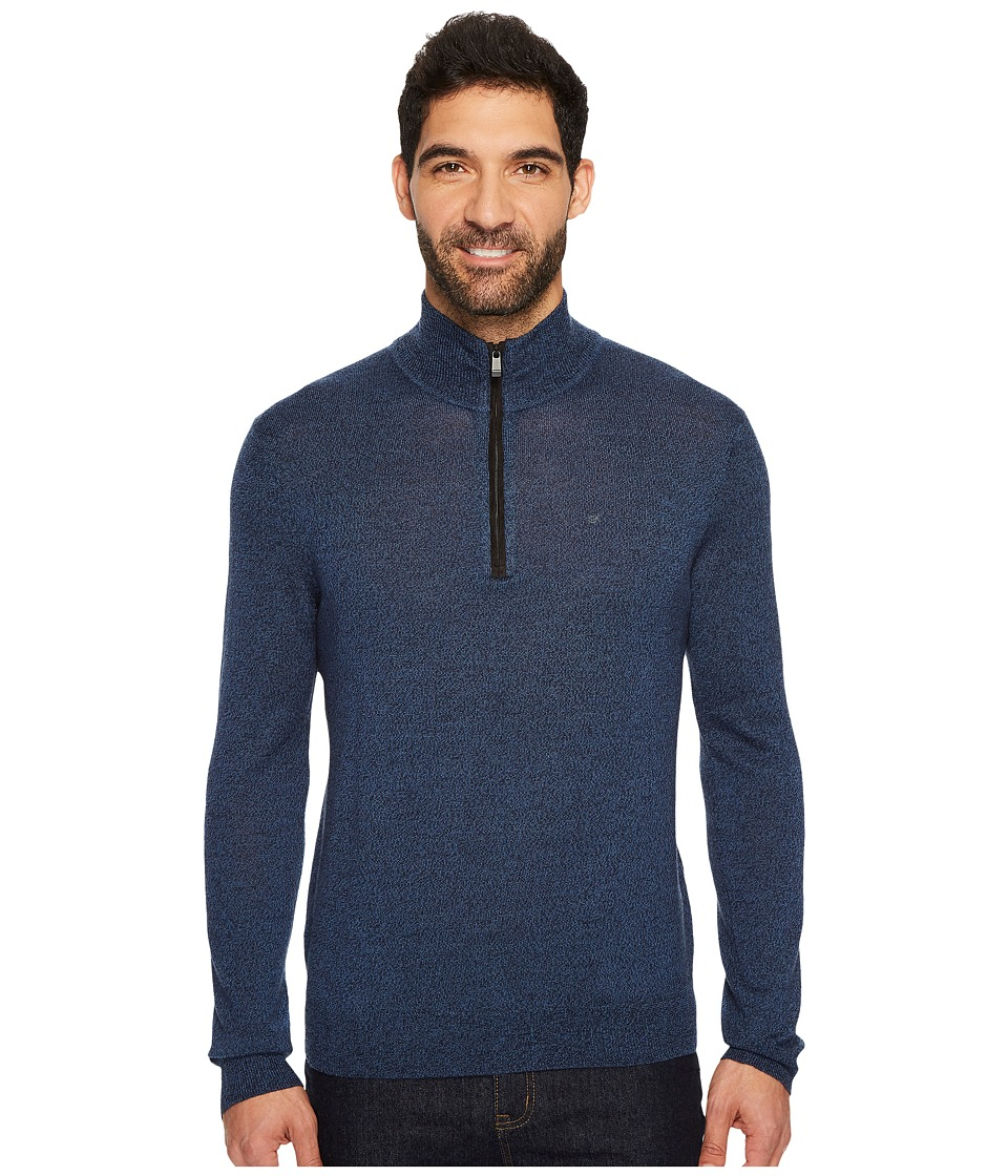 Calvin Klein Merino End on End 1/4 Zip Sweater (Indigo Mouline) Men