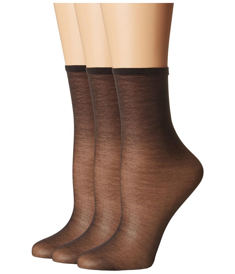 HUE - Sheer Anklet 3-Pack (Black) Womens Crew Cut Socks Shoes