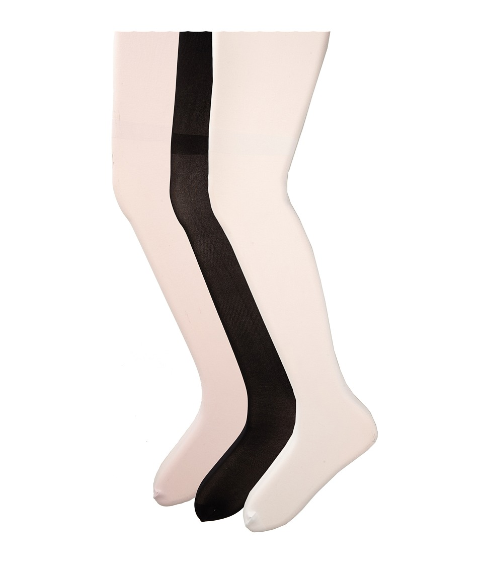 HUE - Opaque Tights 3-Pack (Little Kids/Big Kids) (Black/White/Pale Pink) Hose