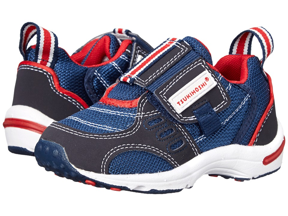 Tsukihoshi Kids - Euro (Toddler/Little Kid) (Navy/Red) Boys Shoes