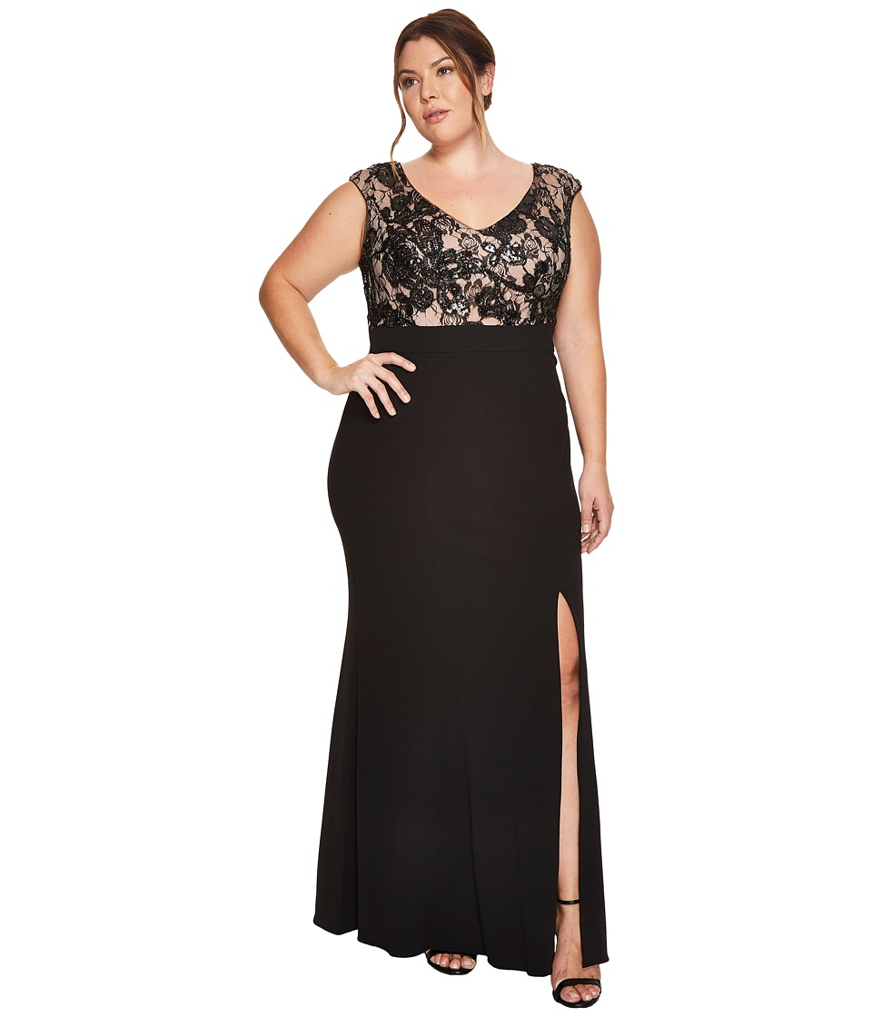 Adrianna Papell Plus Size Cap Sleeve Long Gown with Lace Bodice (Black/Nude) Women