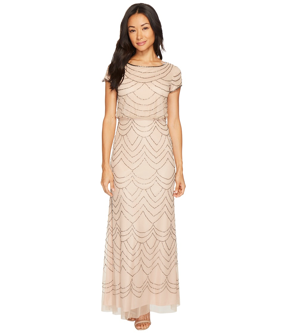 Adrianna Papell Petite Short Sleeve Blouson Beaded Gown (Taupe/Pink) Women
