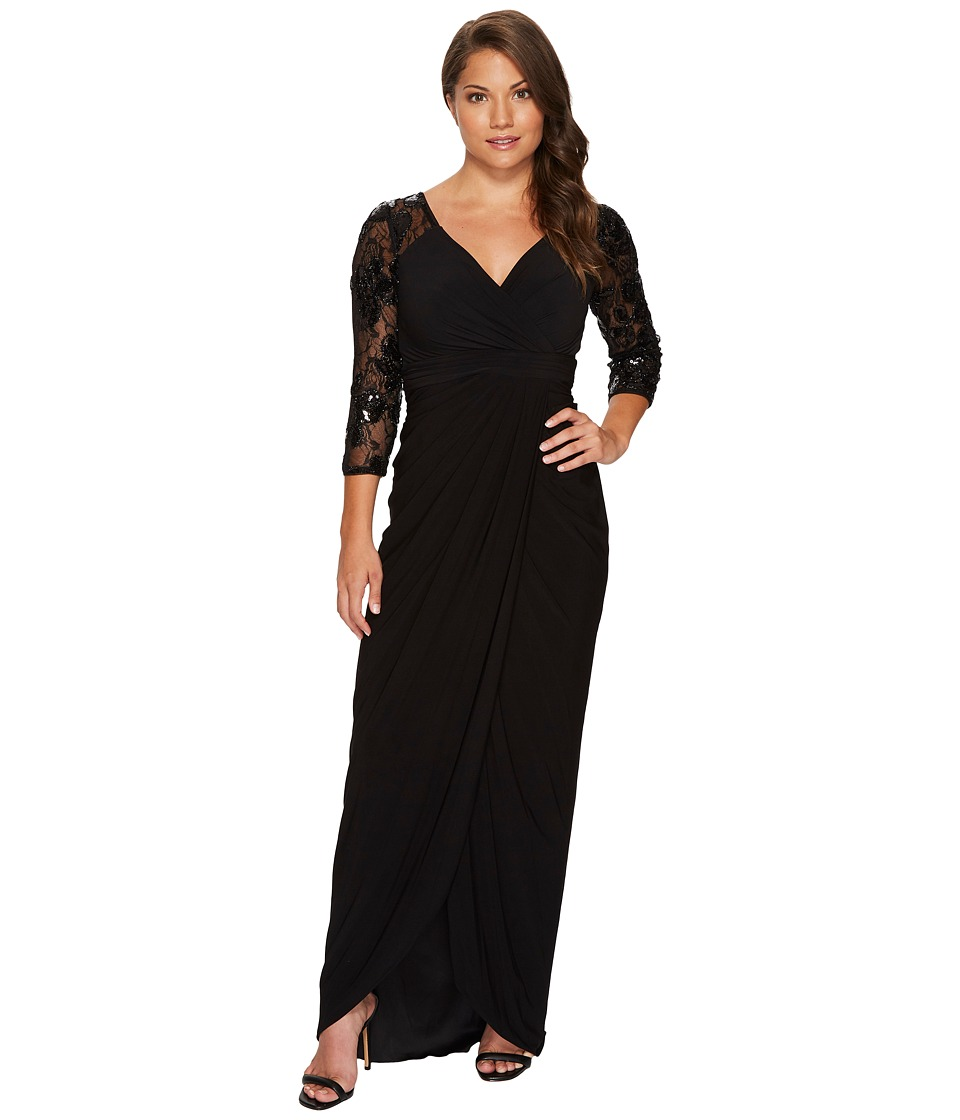 Adrianna Papell - Petite Long Gown with Beaded Sleeves and Sweetheart Neckline