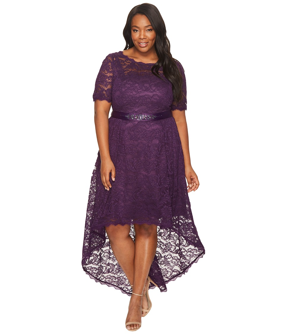 Adrianna Papell Adrianna Papell - Plus Size Short Sleeve Lace Dress with High-Low Hem