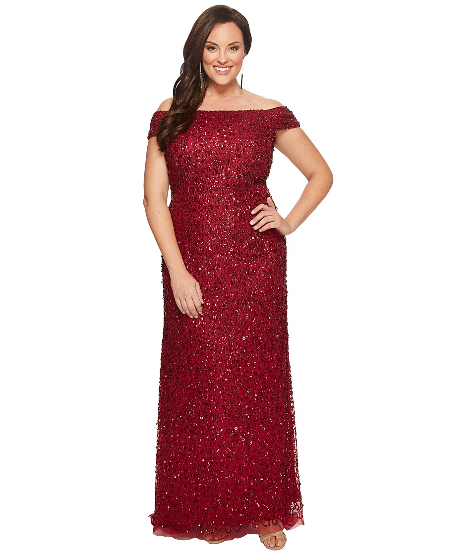 Adrianna Papell - Plus Size Off Shoulder Crunchy Beaded Gown