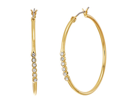 Rebecca Minkoff Bubble Stone Hoops Earrings - Gold/Crystal