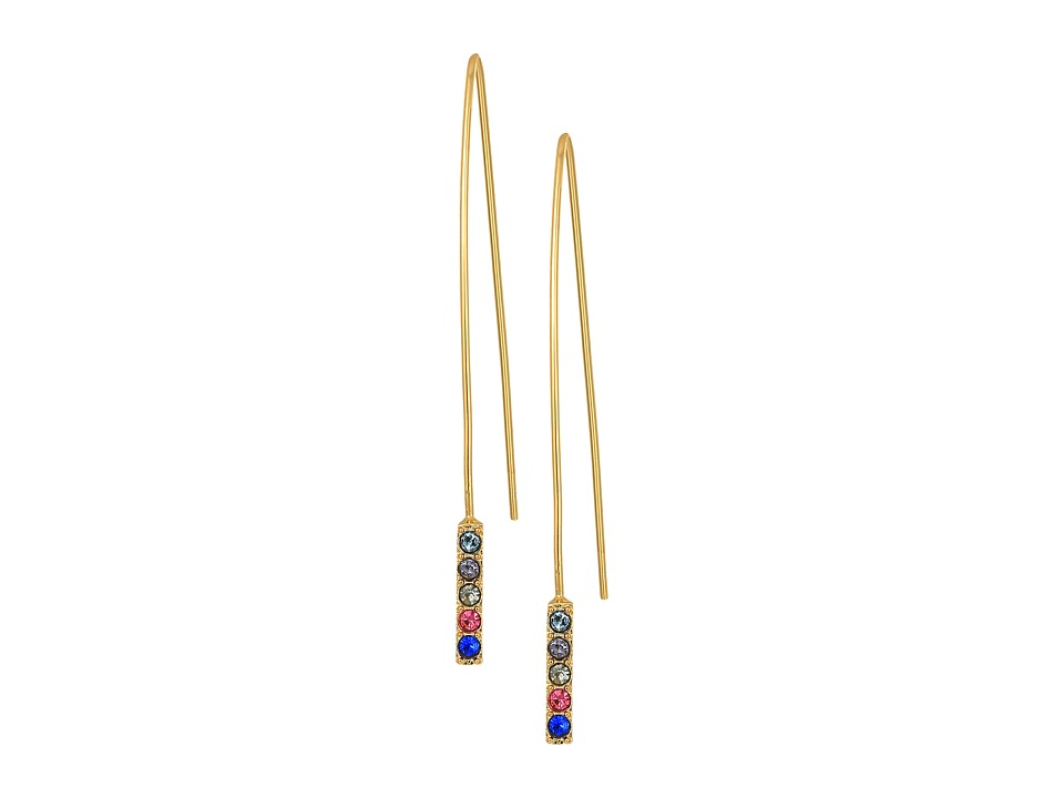 Rebecca Minkoff - Hardwire Threader Earrings with Pave Stick (Gold/Bright Multi) Earring