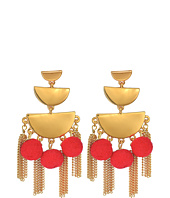 Rebecca Minkoff - Triple Tier Chandelier Earrings with Tassel and Pom Fringe