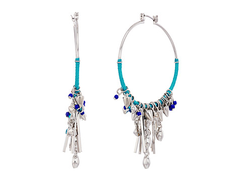 Rebecca Minkoff Gemma Charm Hoop Earrings - Silver/Blue