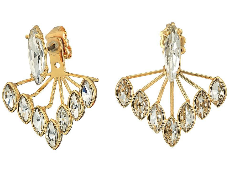 Rebecca Minkoff - Front Back Sparkler Earrings (Gold/Crystal) Earring