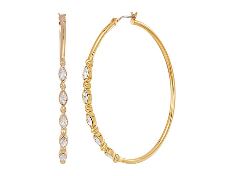 Rebecca Minkoff Large Hoops Earrings with Tri Stone Detail - Gold/Crystal