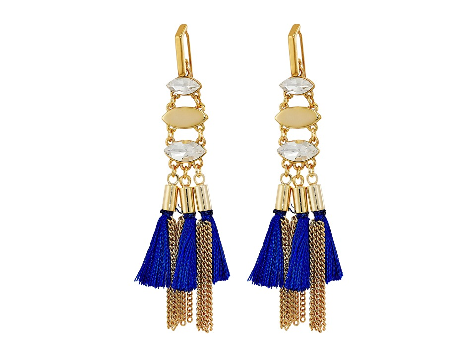 Rebecca Minkoff - Tassel and Fringe Chandelier Earrings (Gold/Blue) Earring