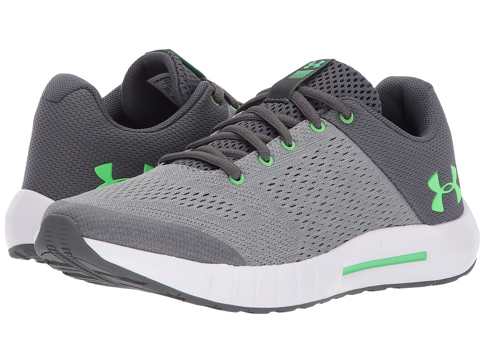 Under Armour Kids UA BGS Pursuit (Big Kid) (Steel/White/Arena Green) Boys Shoes