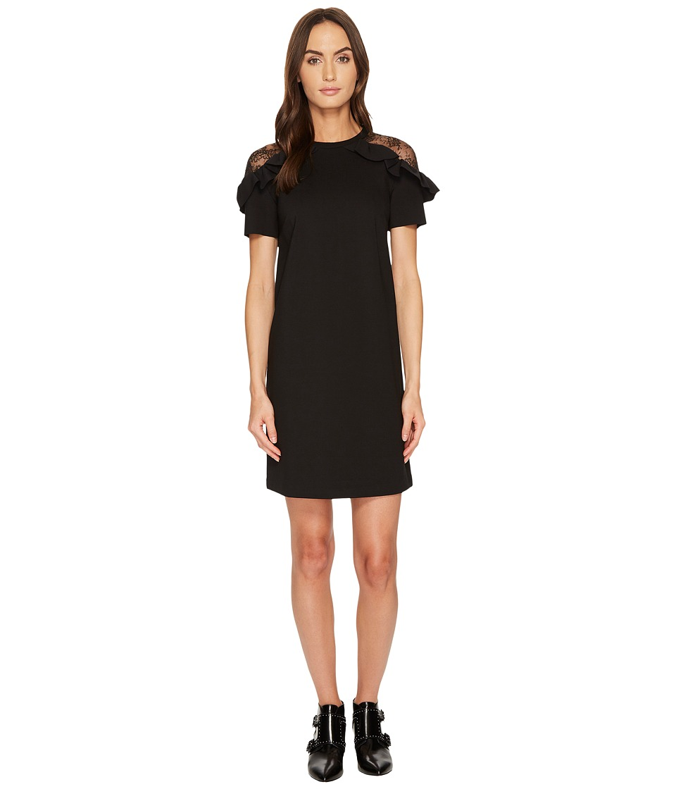 RED VALENTINO Pointe Jersey Flower Ramage Lace Dress (Black) Women