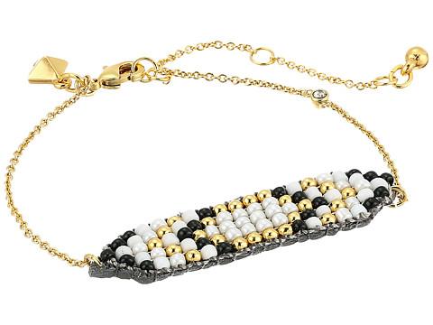 Rebecca Minkoff Hadley Seed Bead Plaque Bracelet - Gold/Metallic