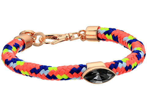Rebecca Minkoff Climbing Rope Bracelet with Stone - Gold/Neon Pink Multi