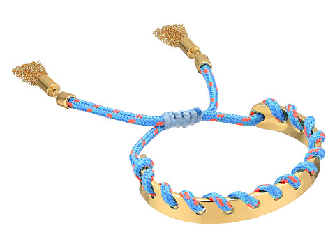 Rebecca Minkoff Climbing Rope Whipstitch Skinny Cuff Bracelet - Gold/Turquoise