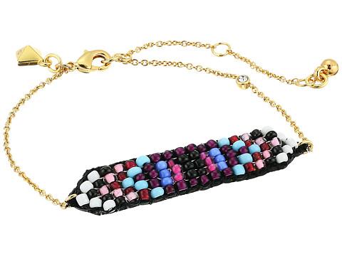 Rebecca Minkoff Hadley Seed Bead Plaque Bracelet - Gold/Multi
