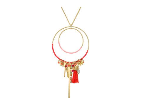 Rebecca Minkoff Gemma Charm Pendant Necklace - Gold/Pink