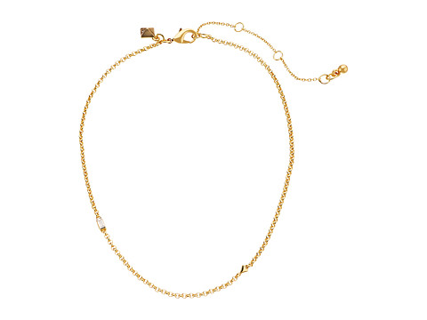 Rebecca Minkoff Chain Choker Necklace with Baguette Stone - Gold