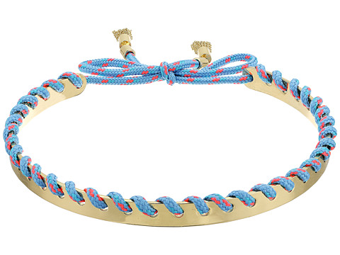 Rebecca Minkoff Climbing Rope Whipstitch Collar Necklace - Gold/Turquoise