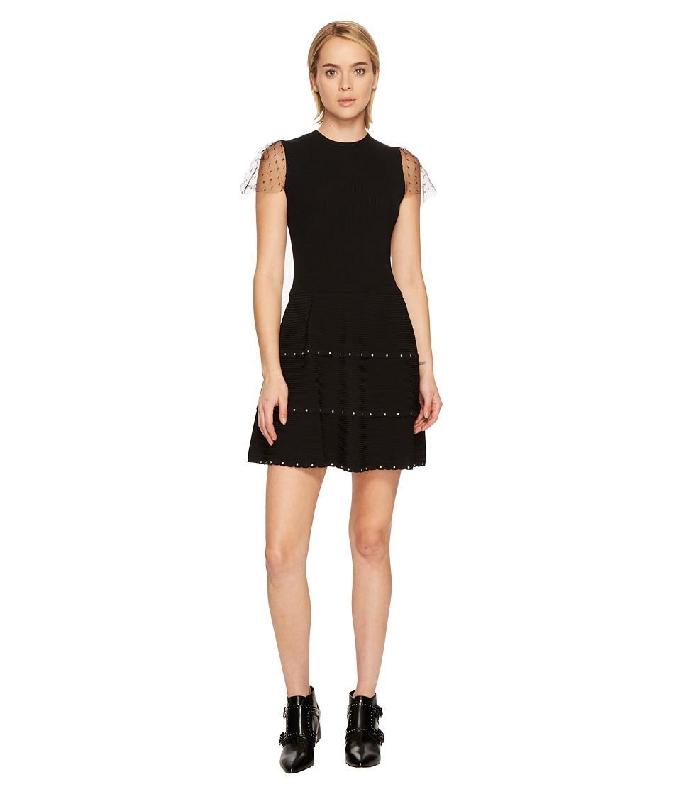 RED VALENTINO Stretch Viscose Yarn Dress (Black) Women