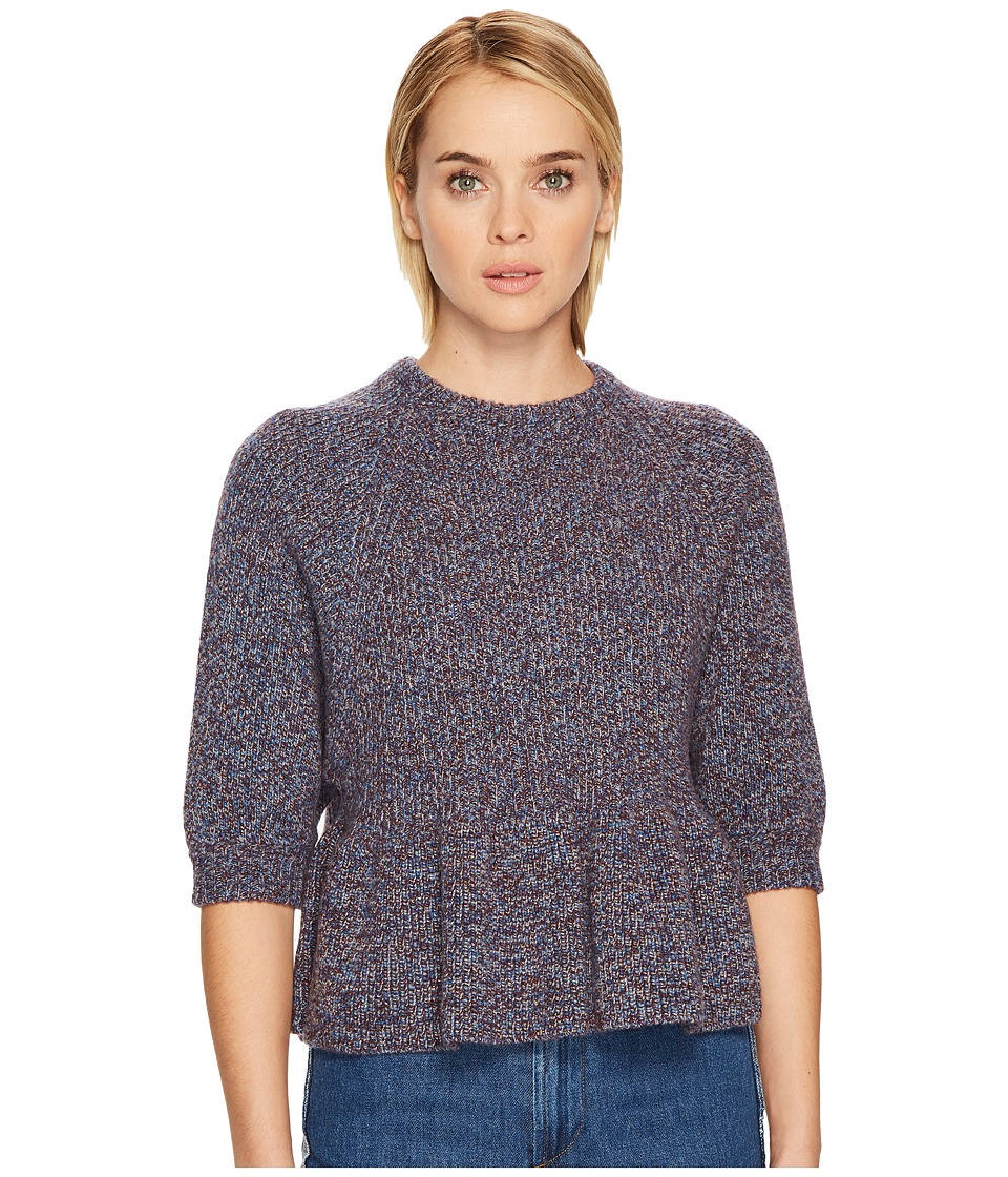 RED VALENTINO - Multicolor Mouline Wool Yarn Top