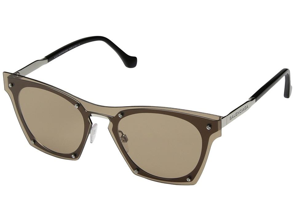 Balenciaga - BA0107 (Palladium Metal/Brown) Fashion Sunglasses