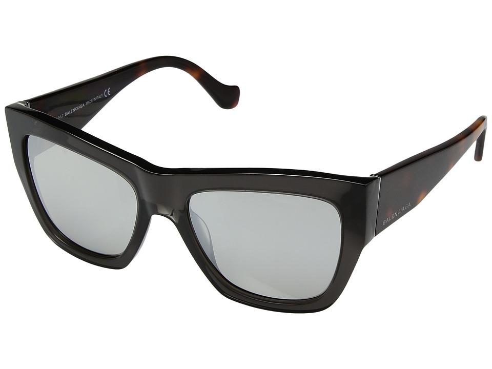 Balenciaga - BA0102 (Transparent Grey/Havana/Flash Smoke) Fashion Sunglasses