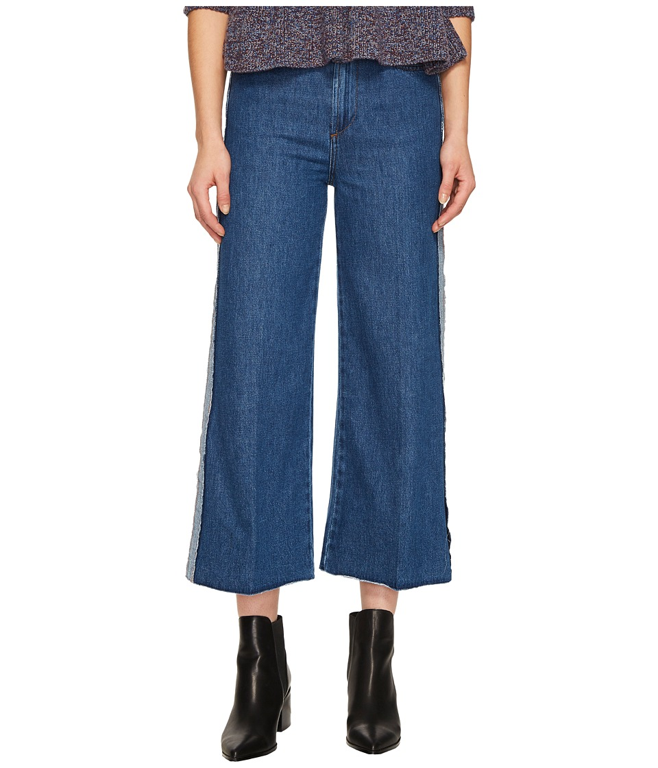 RED VALENTINO - Denim Stone Washed Hatching Embroidery Pants