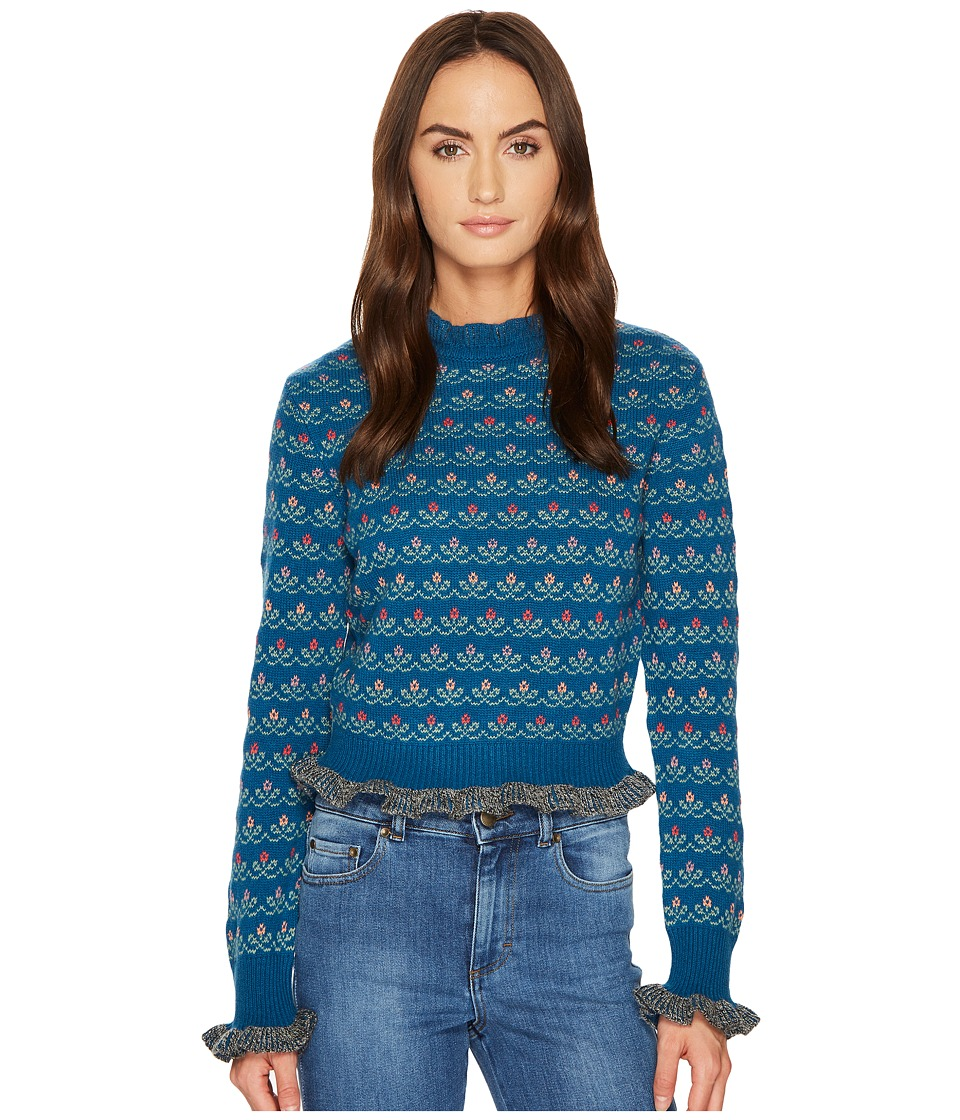 RED VALENTINO - Carded Wool Flower Jacquard Top